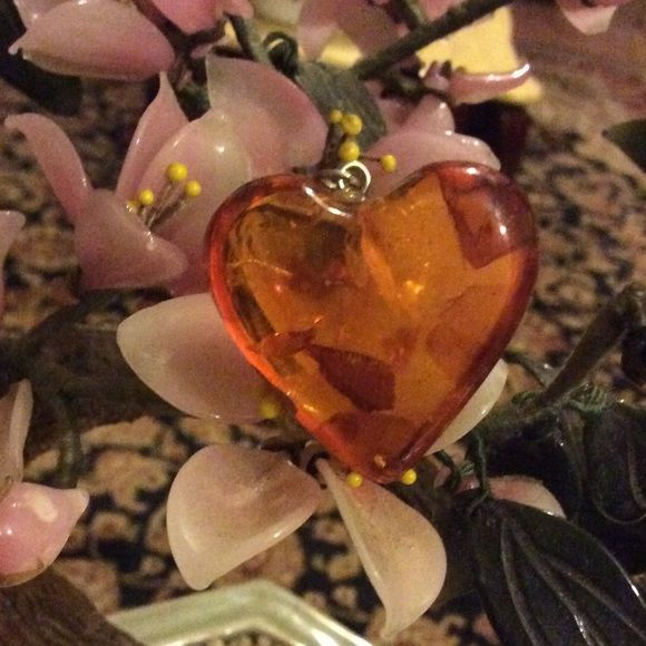 Amazing Baltic Amber heart pendent Gorgeous large heart Amber Vintage Jewelry