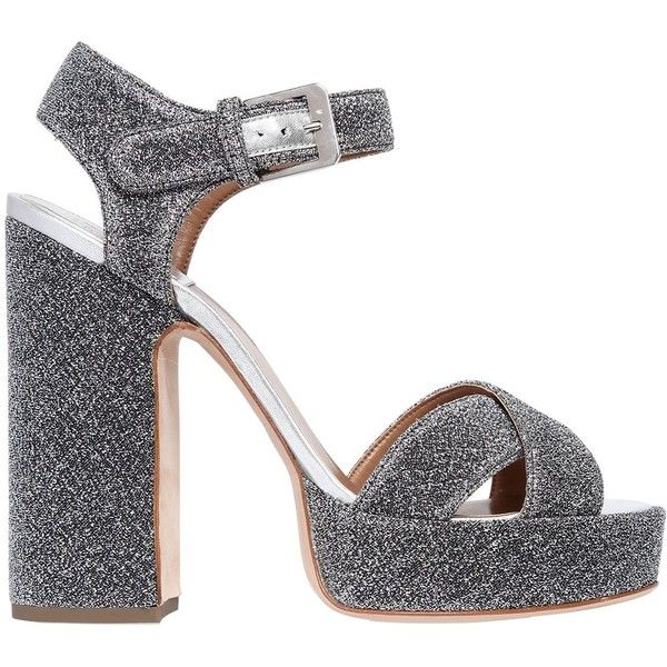 Laurence Dacade Women 120mm Rosange Glitter Fabric Sandals ($920) ❤ liked on Polyvore featuring shoes, sandals, silver, high heels sandals, silver glitter shoes, silver glitter sandals, silver sandals and adjustable sandals