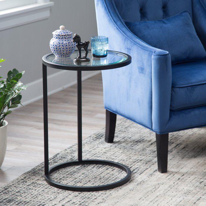 Belham Living Lamont Round C Table Black Glass Side Tables