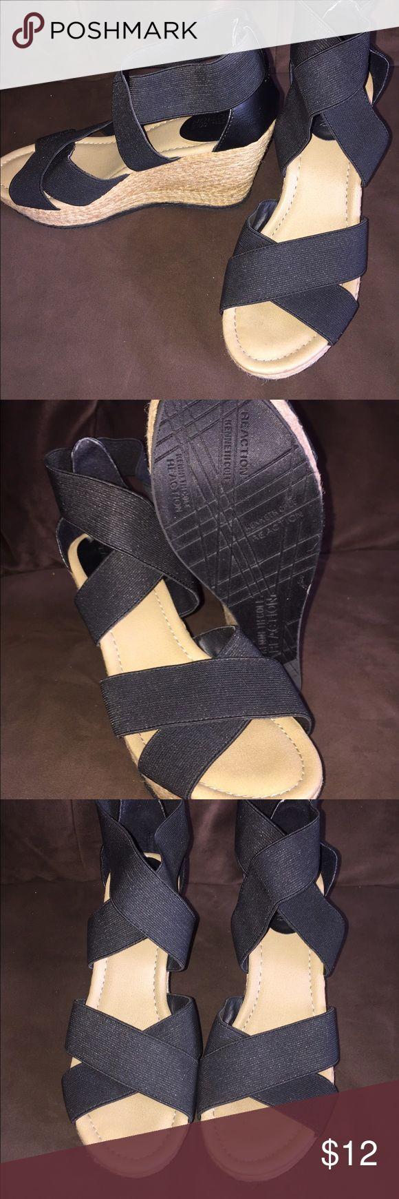 Ladies wedge sandals Kenneth Cole Black stretch wrap wedge sandals 3.5in. heel Kenneth Cole Shoes Espadrilles