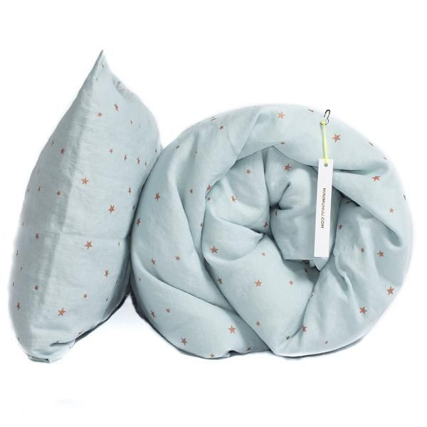 Toddler Washed linen Bed Set. Light blue, copper stars