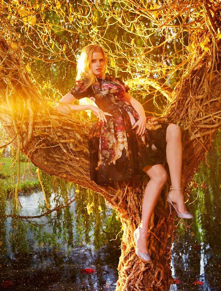 ph: ryan mcginley  Lara Stone in Vogue UK, September 2012.  Stylist: Francesca Burns  Hair: Luke Hersheson  Make-up: Lucia Pica  Nails: Anatole Rainey  Set Design: Simon Costin