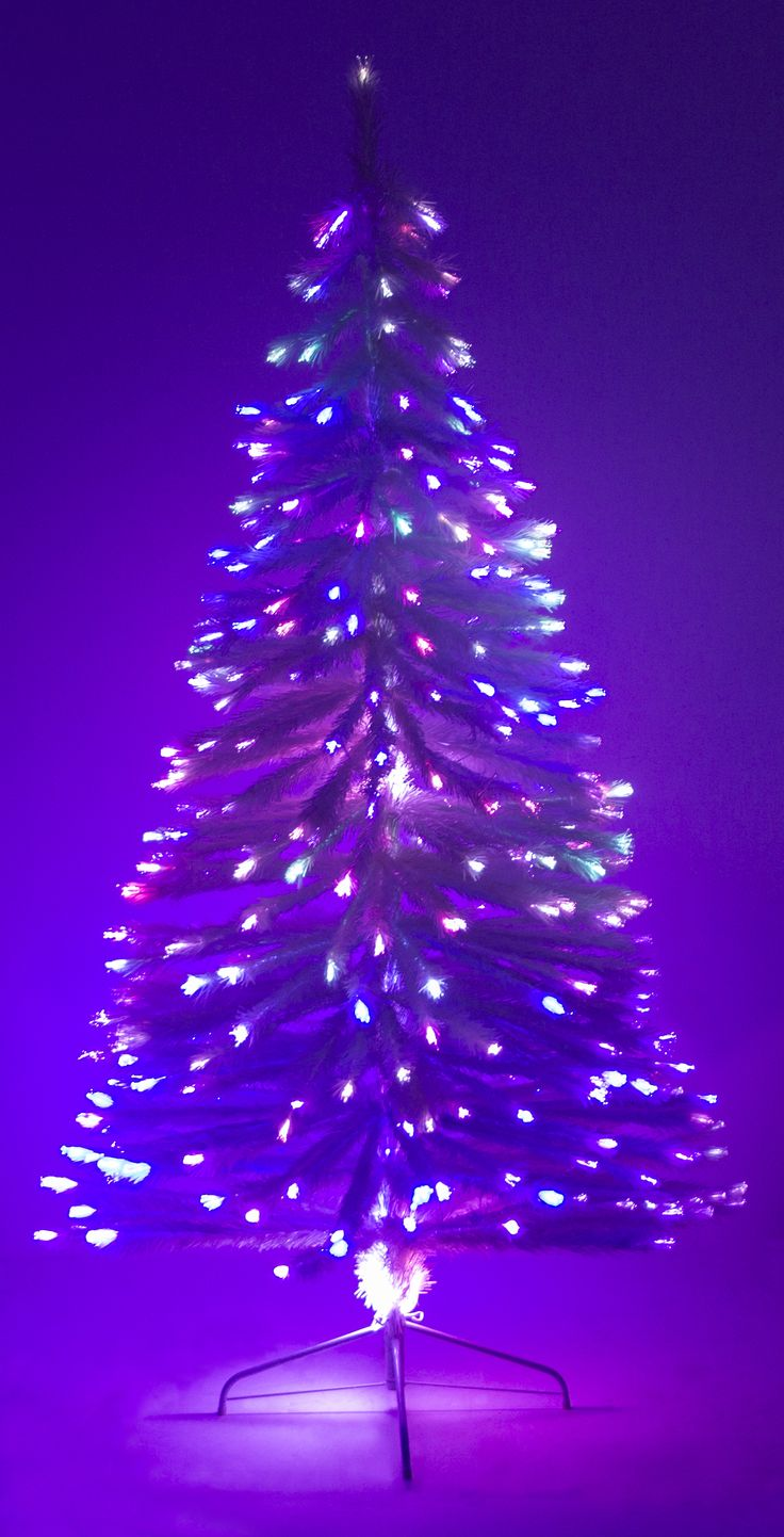 White christmas tree with purple and blue decorations - 4 Fiber Optic White Christmas Tree W Stand