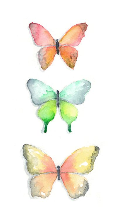 Watercolor Butterflies Stretched Canvas