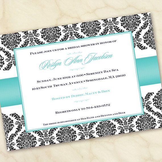 bridal shower invitation, Tiffany blue and black invitation, wedding invitation, damask invitation,