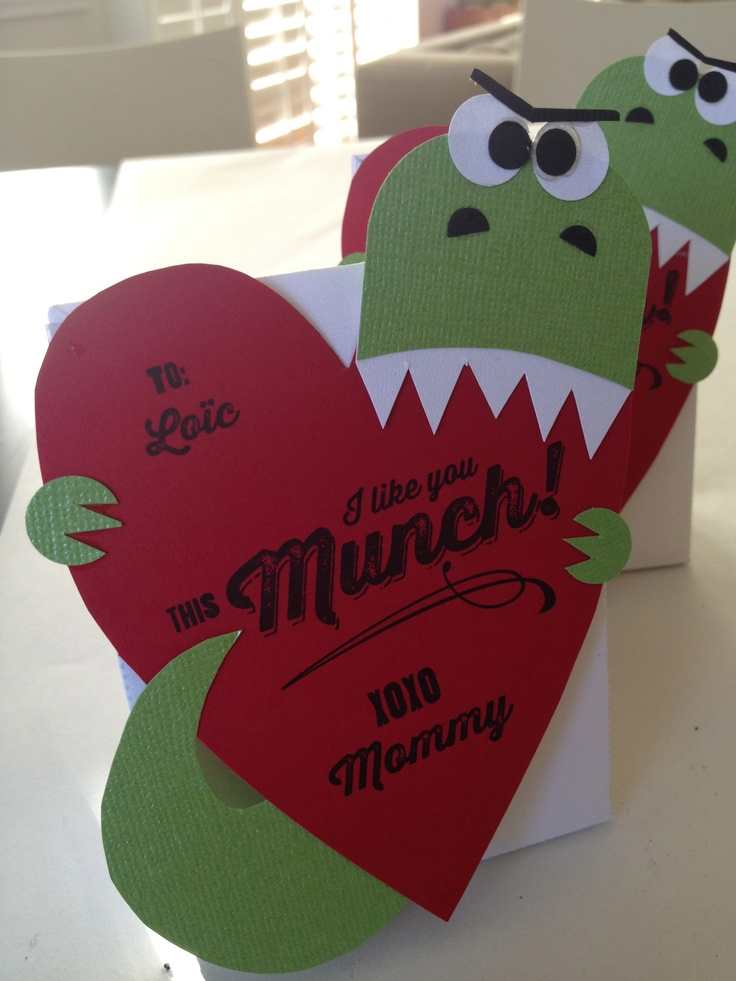 Dinosaur Valentine and Favor bag, original design crafted ...