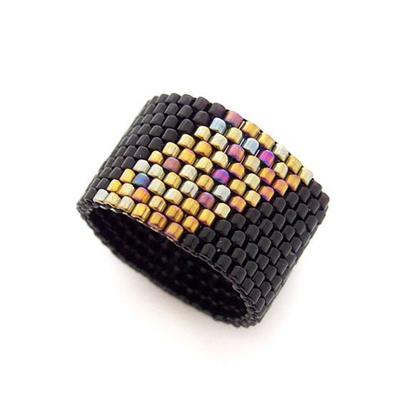 Geometric Black Ring Beaded Ring Band Gold by JeannieRichard, $35.00