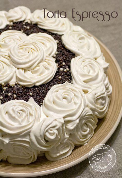 Torta Espresso-torta con crema al caffè + tutorial rose con sac a poche   Cappuccino e Cornetto