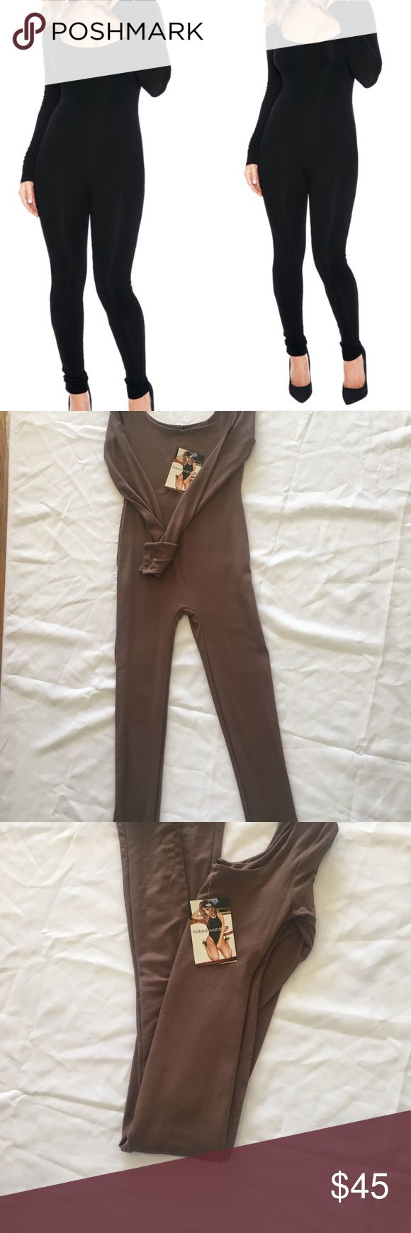 Naked Wardrobe Tan -Brown Jumpsuit Naked Wardrobe Brown Jumpsuit  Brand New With tags Size medium  5% spandex very stretchy  Color brown Naked Wardrobe Pants Jumpsuits & Rompers