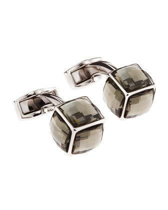 Rhodium plate. Gray faceted Swarovski Elements form cubes. Imported. More Details