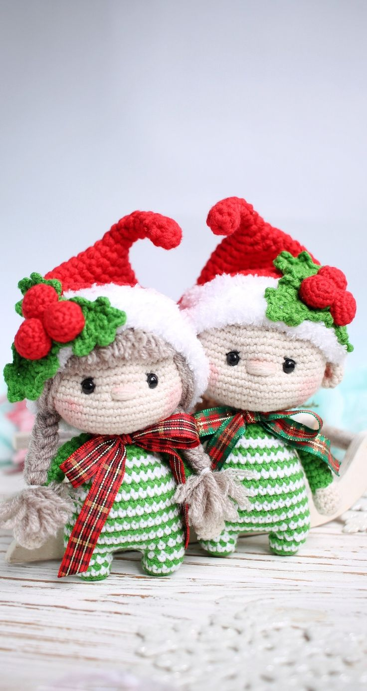 First christmas gift. Christmas elf. Santa elf. Christmas gnome. Little crochet baby dolls