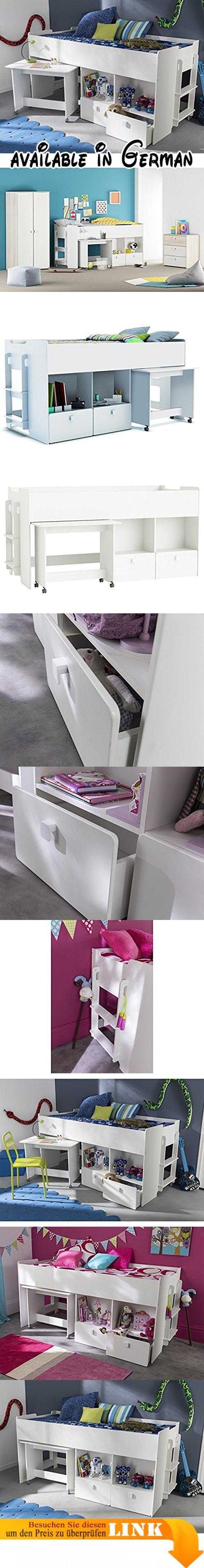 """Kombi-Bett Schreib-Schlaf-Kombi Etagenbett Schreibtisch Kinderzimmer """"Galen I"""". Produktabmessungen: Breite 218,3 cm, Höhe 98,5 cm, Tiefe 96 cm - trotz der kompakten Grundfläche ein geräumiges Kombi-Bett. So erfreuen nicht nur die Stauraummöglichkeiten, sondern auch die komfortable Liegefläche von 90 x 200 cm. Der Schreibtisch ist mit einer Breite von 83 cm, einer Höhe von 66 cm und einer Tiefe von 45 cm sehr gut proportioniert und erfüllt seinen Zweck zur vollsten"""