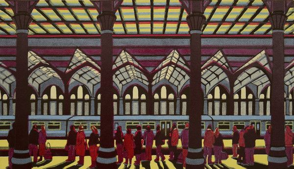 Home Before Dark - a linocut print by Gail Brodholt