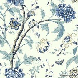 Papel de parede Decoração Floral Origini 200-40, lavável, importado, branco com floral em tons de azul, superfície lisa.
