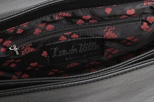 Lux De Ville Elvira Bat Flap Matte Goth Punk Tattoo Messenger Bag Purse EBF575B