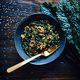 Lunch today - kale rice bowl with Rice of the Prairies (aka whole oat groats). Sautéed with lacinato kale, sesame seeds, and shoyu. Recipe coming to wellandfull.com soon!