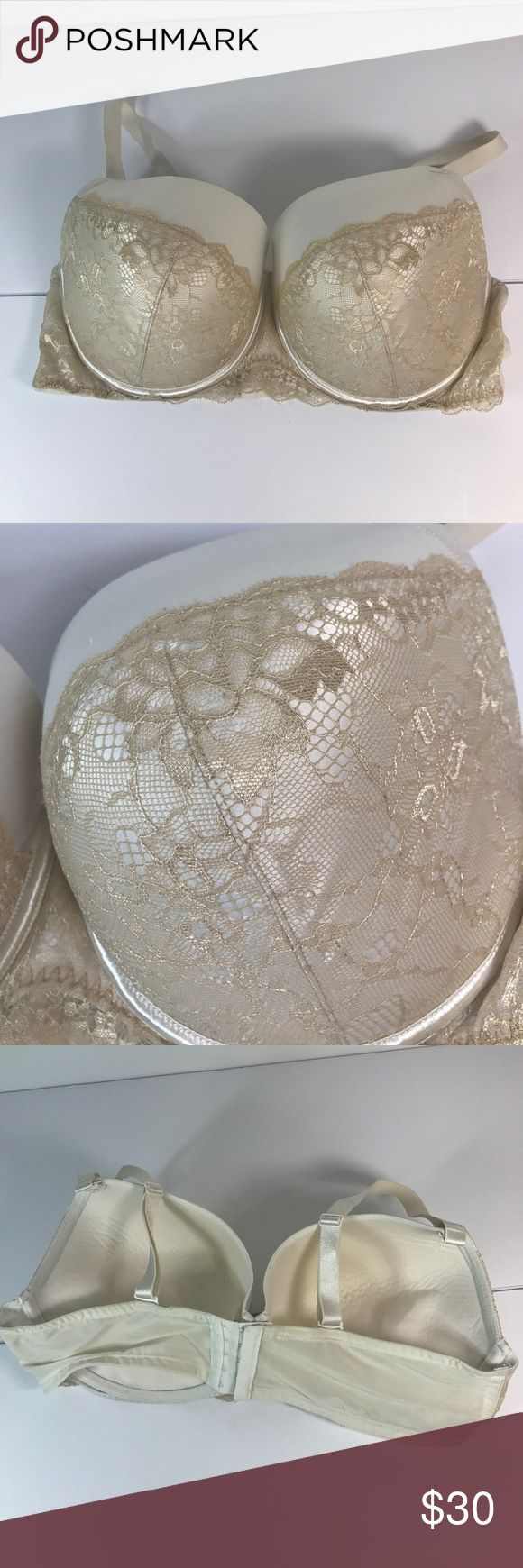 Cacique Full Coverage Lace Ivory Bra sexy padded Cacique Full Coverage Bra in a gorgeous Ivory with lacy trim! There is a small mark on it. Lightly padded with Underwire. 44DD  💯Offers are welcome ❤️ 🚫No trades, Don't ask.  🚫No modeling  🚫no sales off poshmark Cacique Intimates & Sleepwear Bras
