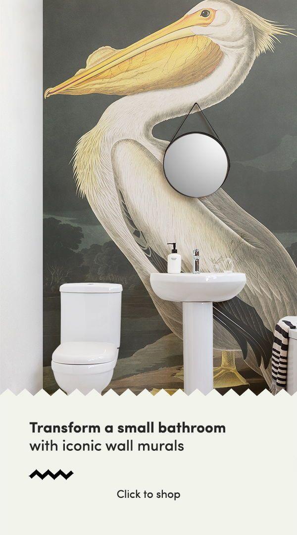 White Pelican Wallpaper Mural In 2019 Small Bathroom