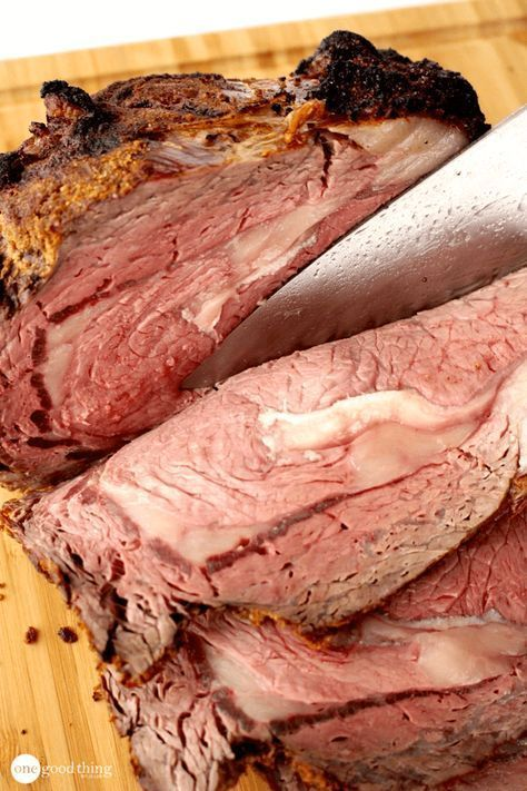 Foolproof prime rib - I take 2 quarts of beef stock (not broth) plus 1 quart water and one whole sliced onion in the pan under the roast. then the roast's yummy juices drip into the stock mixture. Then you don't need to make a separate au jus! Just watch to make sure your liquid doesn't cook out!