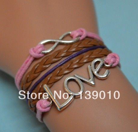 Старинное серебро плетеный браун фиолетовый розовый флокирование кожа веревка бесконечность любви регулируемый браслет мода женщины мужчины ювелирные изделия