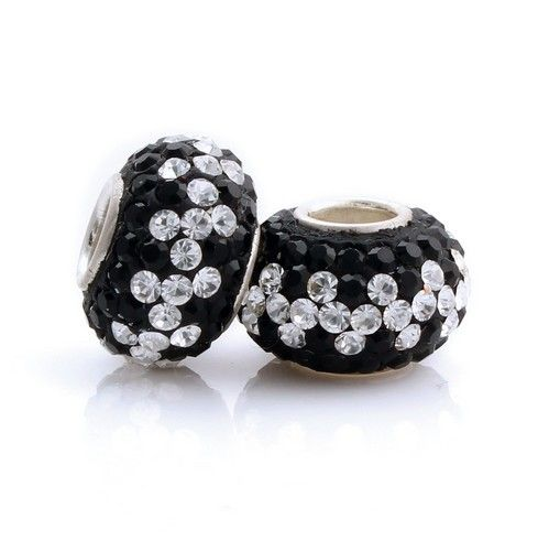 CLSZ438 925 Sterling Silver Black White Small Crystal Pandora Beads Jewellry on sale,for Cheap,wholesale