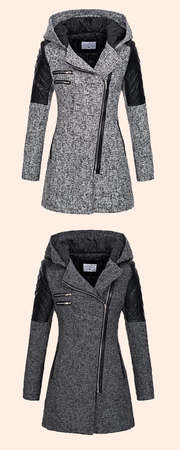 Zipper Slim Mid-Length Hooded Jacket