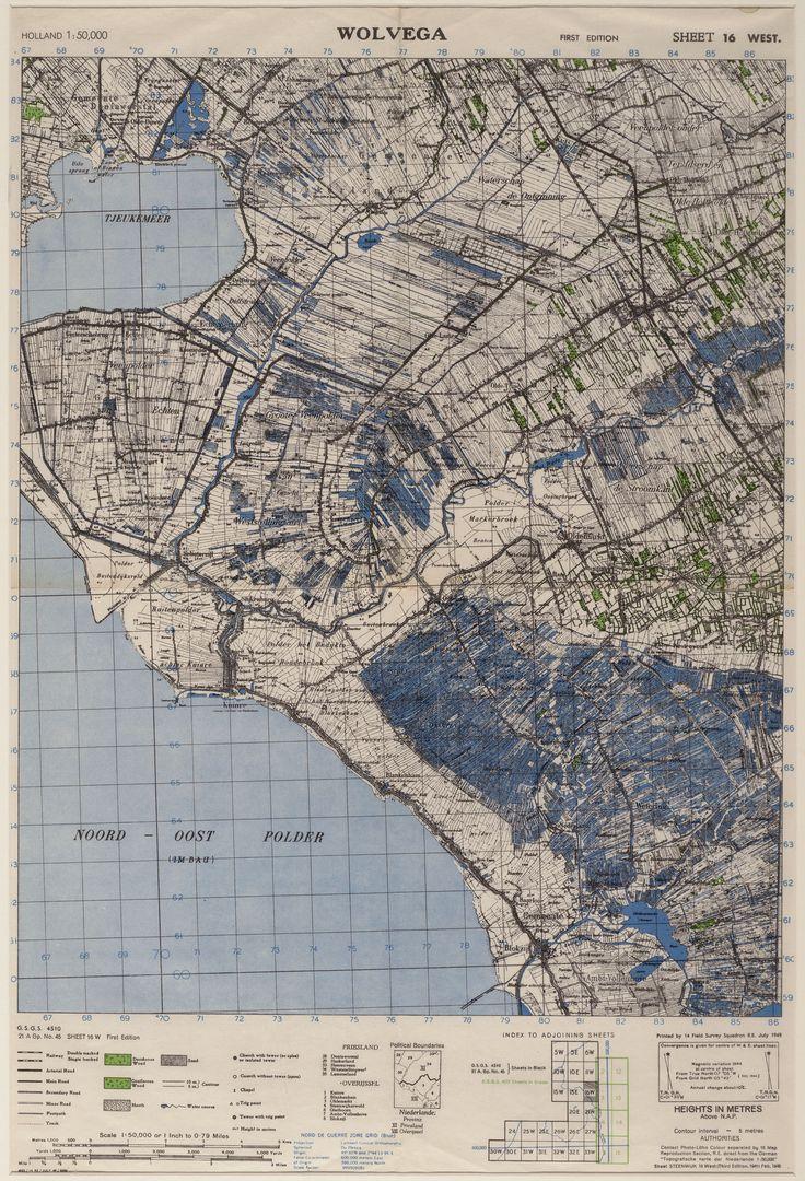 Kaart van zuid-oost Friesland en noord-west Overijssel, getiteld 'Wolvega'. Schaal 1:50.000. Op de kaart een Britse signatuur (Field Survey Squadron R.E.) en Duitstalige titel ('Topografische Karte der Niederlande'). 1949