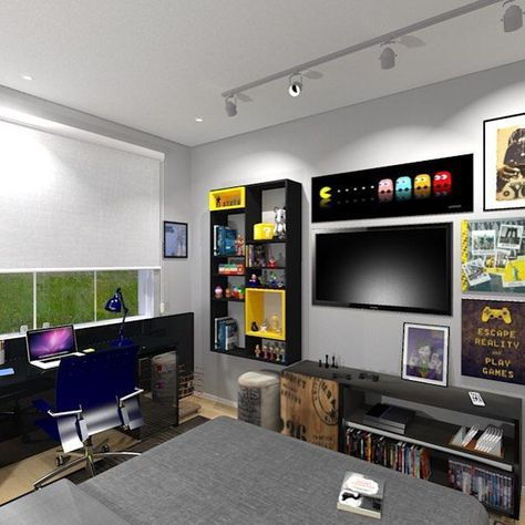 die besten 25 gamer zimmer ideen auf pinterest minimalistische spielzimmerm bel gamer. Black Bedroom Furniture Sets. Home Design Ideas
