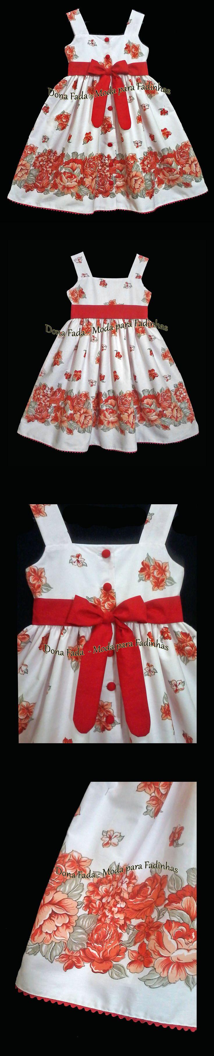 Vestido Floral vermelho - 9/10  anos_______________baby - infant - toddler - kids - clothes for girls - - - https://www.facebook.com/dona.fada.moda.para.fadinhas/