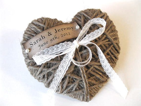 WEDDING Ring Pillow/Holder - reuse as Christmas ornament  - personalized with lace - wedding ceremony, wedding decor - ORIGINAL via Etsy