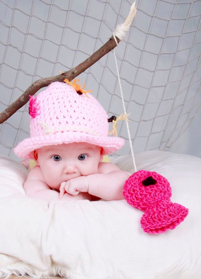 Girl Pink FLY FISHING Bucket Hat CROCHET Fisherman Hat with pink Fish sizes preemie, newborn, 0-3 month, 3-6 month, 6-12 month, 1-3yr by thebabypea on Etsy https://www.etsy.com/listing/121191225/girl-pink-fly-fishing-bucket-hat-crochet