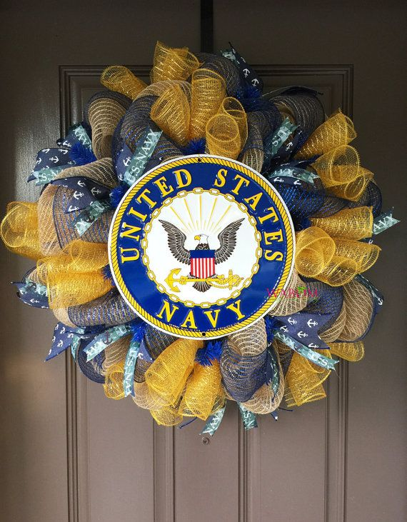 United States Navy Wreath, Navy Wife, Navy Family, US Navy, Deployment Wreath, Navy Deployment, Military Wreath, Military Gift, Front Door