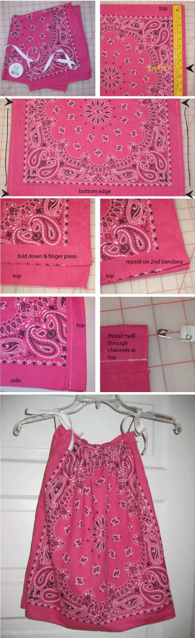 Dress=2 bandanas, ribbon. 1. sews a couple of seams. 2. Thread Ribbon. Plus Bandanas are like $1-$2 a piece.