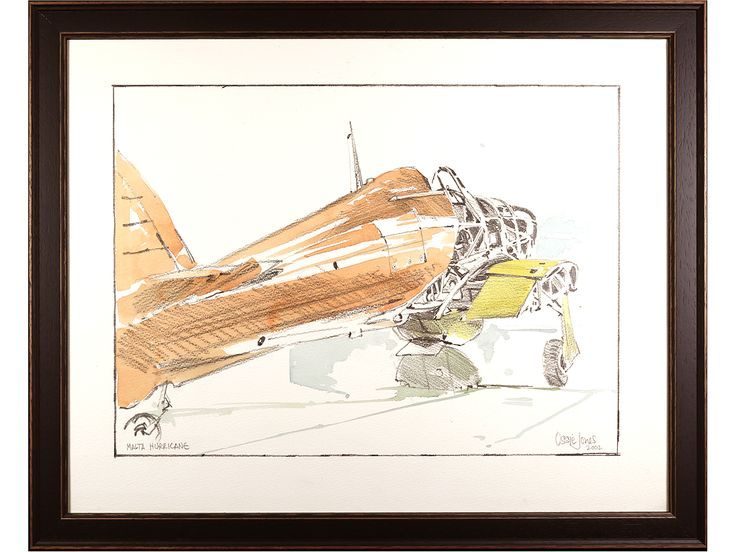 'Malta Hurricane' by Ossie Jones. Watercolour & Pencil drawing. Signed & framed. Dated 2002. #SOLD