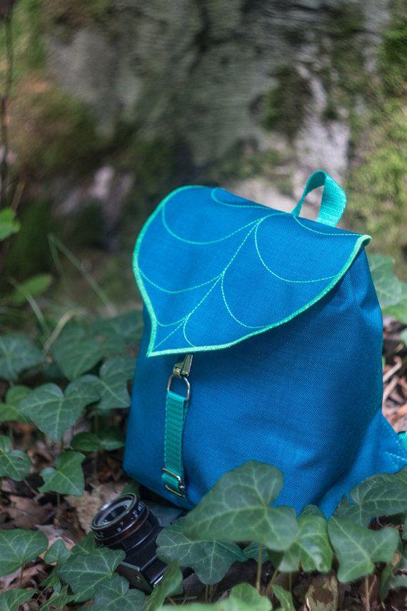 Turquoise Leaf Mini Backpack, Women's Rucksack, Boho Festival Backpack, Waterproof Hipster Backpack , Toddler Backpack, Small Rucksack