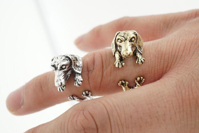 Newest Fashion Wholesale Dachshund Ring Black Gun Antique Silver Antique Bronze Pet Ring for Women DWJZ319