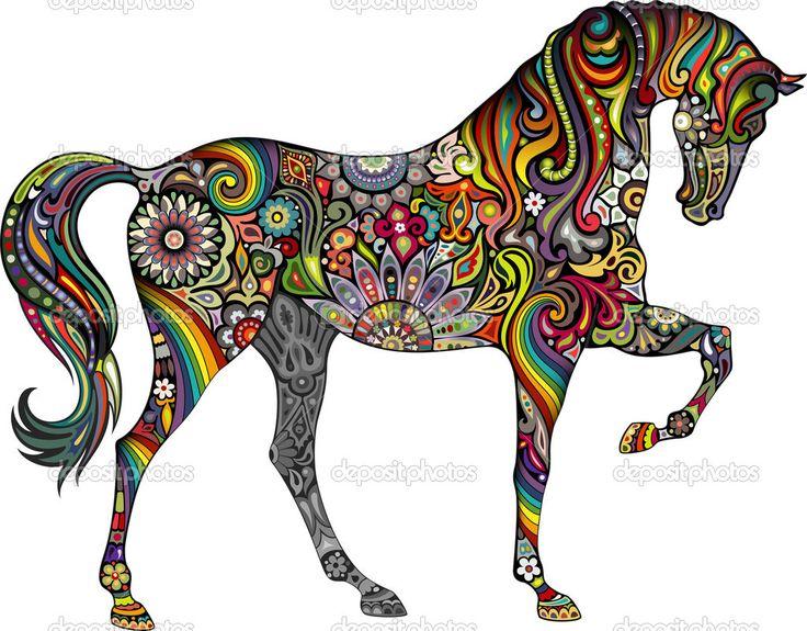Caballo y el arco iris — Ilustración de stock #29024451