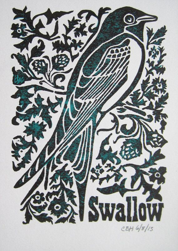 Swallow Linocut Print in Black and Teal on White by OddFactory