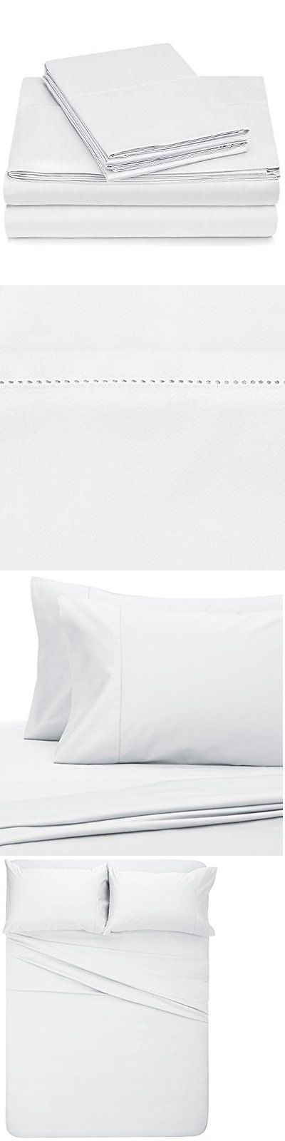 Sheets and Pillowcases 20460: Pinzon 400-Thread-Count Egyptian Cotton Sateen Hemstitch Sheet Set - Queen, New -> BUY IT NOW ONLY: $48.09 on eBay!