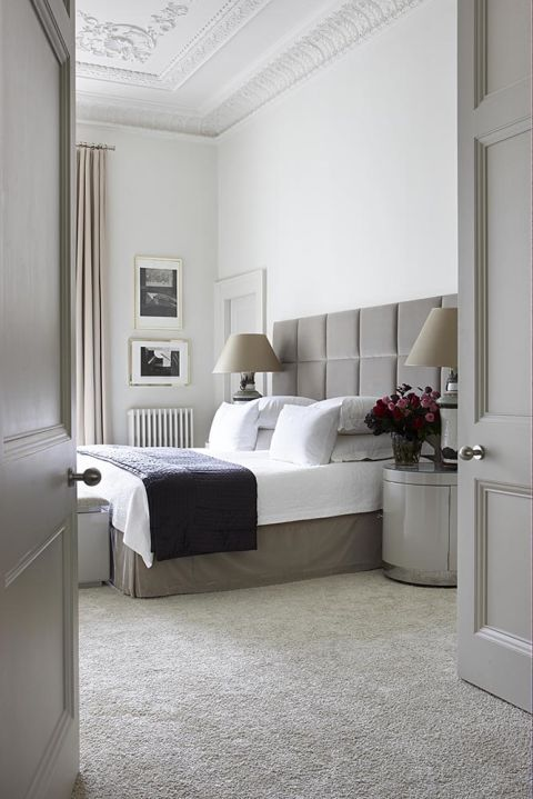 In a bedroom, opt for wall-to-wall carpet, which stops foot