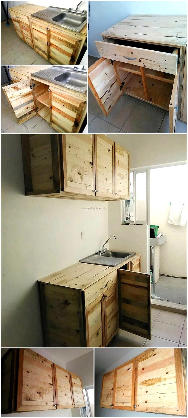 Kitchen cabinets for recycling - Wood Pallet Recycled Kitchen Cabinets