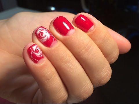Осенний дизайн ногтей. Как нарисовать розы по мокрому гель лаку - YouTube