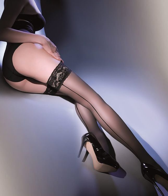 Gabriella Calze Linette Hold Up Stockings £12.99  Linette by Gabriella Hosiery is a fine, delicate, transparent lycra 20 Denier hold-up with back centre seam. There is a 9cm wide lace at the top with double silicone strip. #stockings #gabriella