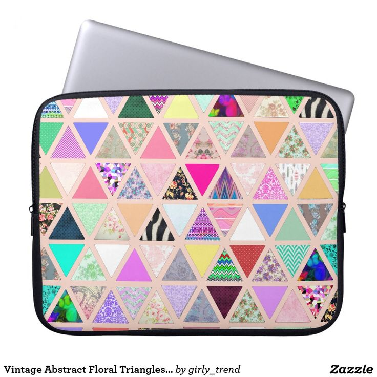 Vintage Abstract Floral Triangles Pastel Patchwork Laptop Sleeves