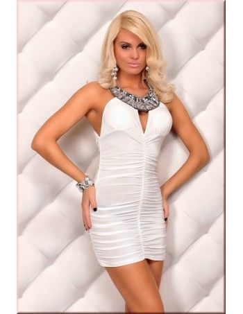 Elegant White Neckholder Sexy Dress With Rhinestones features draping and ruching body, a round neckholder, sleeveless styling with cut-away shoulders and a low cut back with cross over straps. The dress has been cut with a bodycon fit and a mini length.