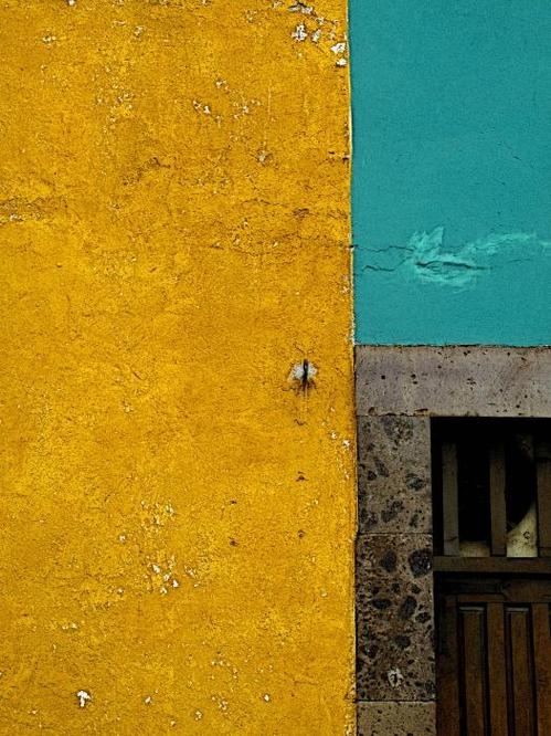 San Miguel Abstract In Turquoise And Ochre Poster By Olden Mexico. color inspiration