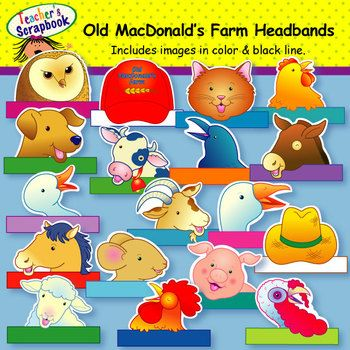 This set of Farm Animal Headbands, from TeachersScrapbook, is sure to get your students mooing and clucking! Included in this fun set of headbands are the following animals:barn owlcatchickendogcowcrowdonkeyduckgoatgoosehorsemousepiglambroosterturkeyYou also get a farmers straw hat and a baseball cap with Old MacDonalds Farm inscribed on it. $10.00