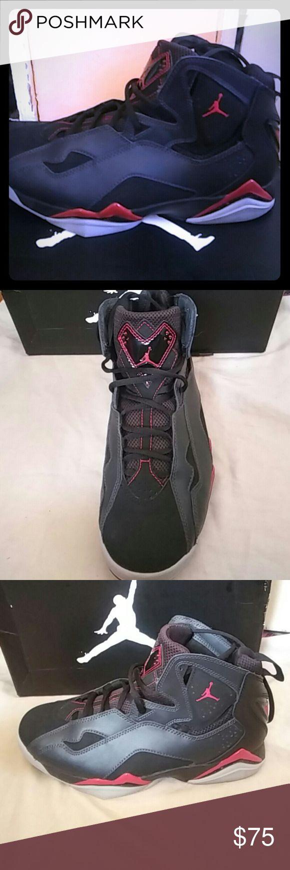 Jordan true flight red and black Red and black pair of Jordan True Flight shoes mens size 9 lightly used worn twice Jordan Shoes