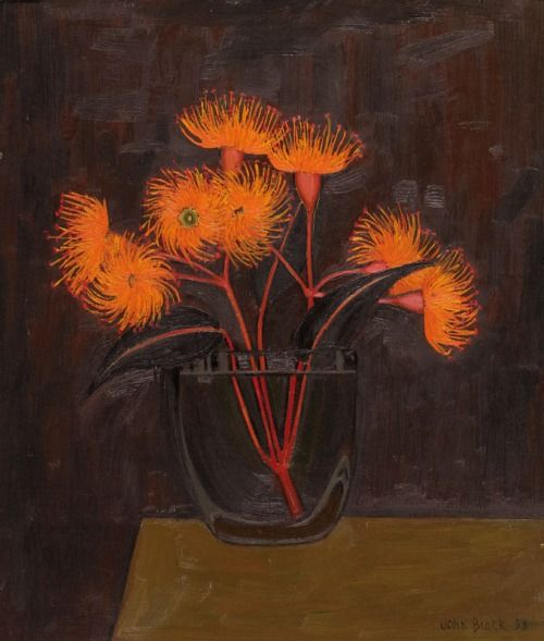 John Brack (Australian, 1920-1999), Flowering Gum, 1958. Oil on composition board, 35.5 x 30.4 cm.
