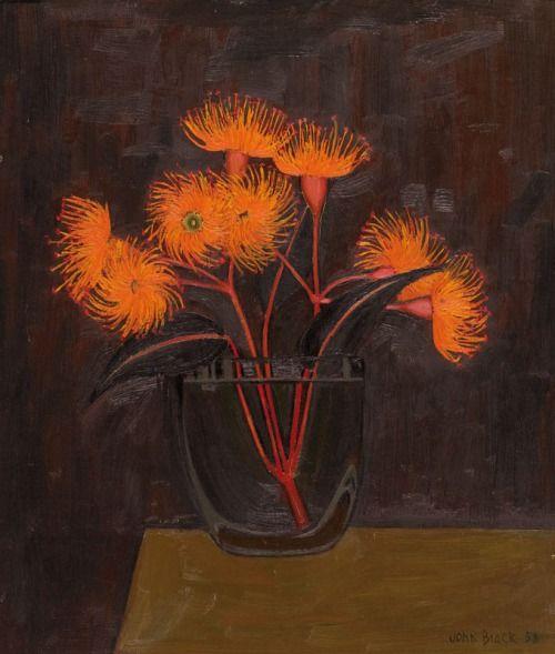 John Brack (Australian, 1920-1999), Flowering Gum, 1958. Oil on composition board, 35.5 x 30.4 cm.